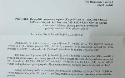 Suglasnost Upravnog odjela za komunalne poslove, komunalnu infrastrukturu i zaštitu okoliša Splitsko dalmatinske županije