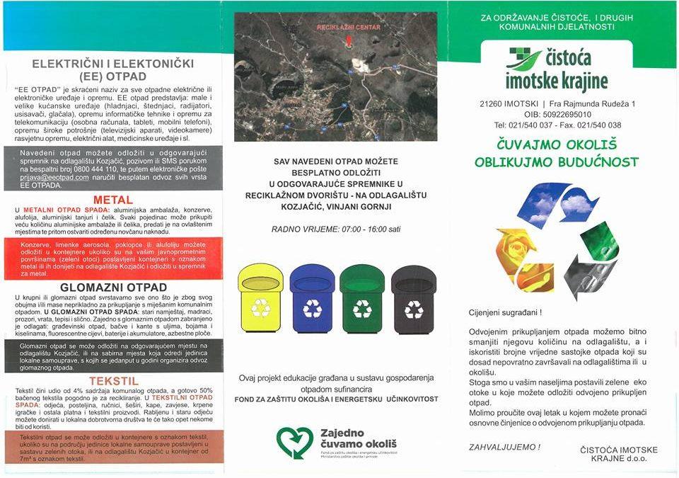 Sistematizacija i razvrstavanje otpada – Letak